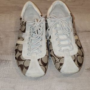 Used white/tan Coach Sneakers